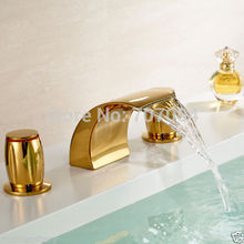 Free Shipping Wholesale And Retail Golden Color 3 Pcs Bathroom Widespread Sink Bathtub Basin Waterfall Faucet