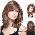 2015 Мода Жаропрочных Синтетические Парики для Женщин натуральный коричневый длинные свободные волны волос парики с боковой челкой евразийского вьющиеся волос