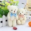 12 unids/lote con cuentas arco lindo osos de peluche 12 CM ramos de flores de peluche material de los juguetes de los bebés mini juguete suave para la boda regalo
