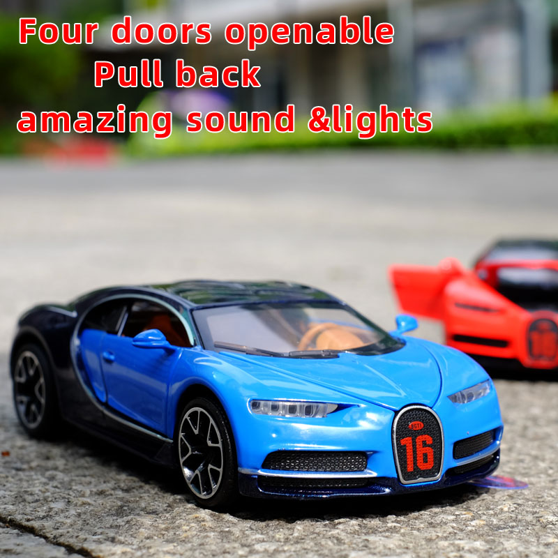 1:32 Bugatti Chiron Pull Back Alloy Sports Car Model Diecast Doors Openable Sound Light Super Racing Hot Car Wheel For Children