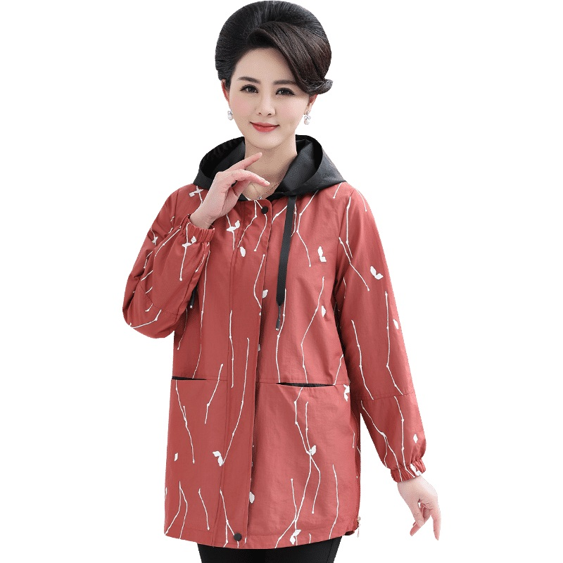 Women's Jacket 2019 New Plus Size Spring Autumn Casual Elegance Hooded Loose Female Middle-aged Windbreaker Outwear Top Ladies