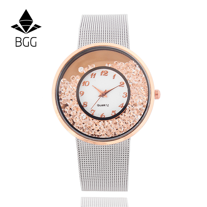 2018 Hot Fashion Stainless Mesh Strap Watch Women Crystal Dial Popular Brand Wristwatches Ladies Gold Silver Dress Quartz-Watch cute rose gold crystal flower thin strap small dial leather quartz women ladies wristwatches wrist watch gift