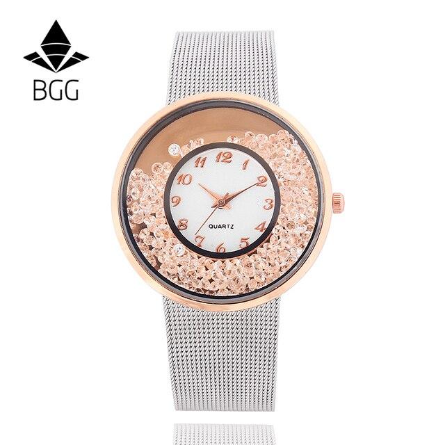 2018 Heiße Mode Edelstahl Mesh Armband Uhr Frauen Kristall