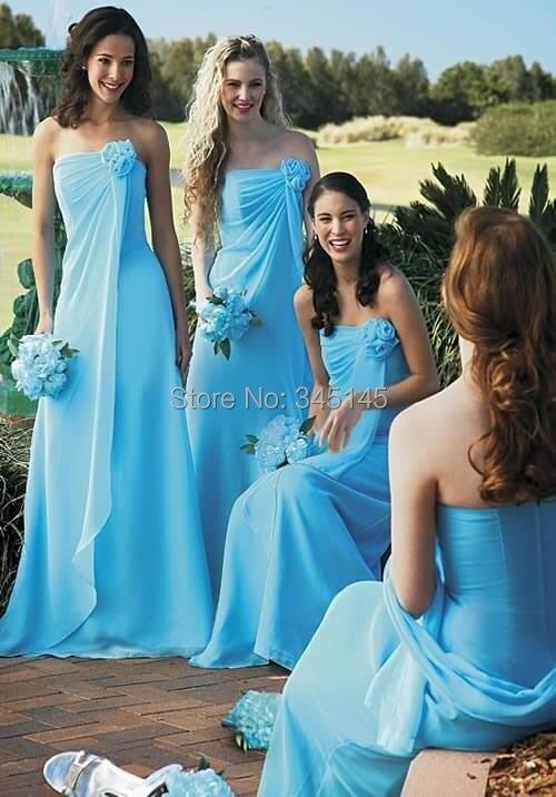 Custom Made Bretelles Fleur En Mousseline de Soie Une Ligne Longue Pas Cher Bleu Clair Demoiselle D'honneur Robes