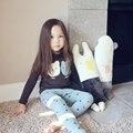 Primavera Otoño Oso Cara Patten Bebé Embroma Las Camisetas para Las Niñas de Algodón de Manga Larga Camiseta de Los Niños Ropa Ropa Marrón Verde
