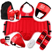 Free combat Sanda full set 8pcs protective guards sport shin guard helmet headgear groin guard chest guard boxing gloves bandage