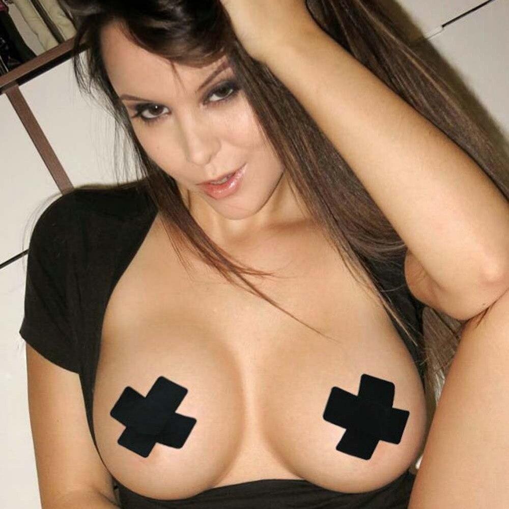 1Pair Cool Self-Adhesive Cloth Breast Nipple Cover Bra Pasties Pad Cross Shape Sexy Women Paste Breast Stickers 8cm*3.5cm