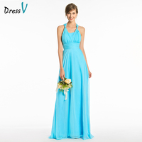 Dressv Long Blue Bridesmaid Dress Halter Sleeveless A Line Empire Simple Backless Custom Wedding Party Dress