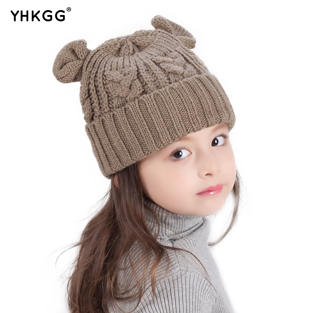 2017 YHKGG Beanie Winter Warm Knitted Children Girl Hat Cute Cat Ear Caps Female skullies beanies 2017 yhkgg the girl s hat warm and comfortable in winter hats the ornament of a flower cute baby hat knitting hat