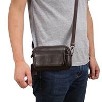 Genuine Leather Man Casual Shoulder Messenger bag Cowhide Small Mini Crossbody Bag 6.5 Phone Case Wallet Cover Waist Belt Pack