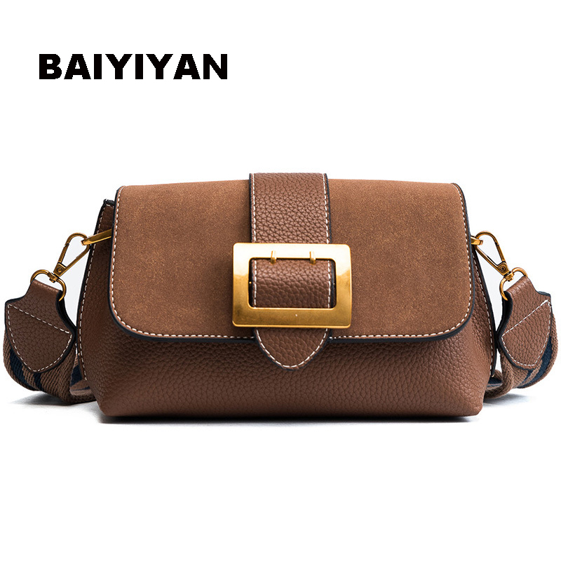 New Simple Style Women's Bag Wide shoulder straps Shoulder Bag Casual Crossbody Messenger Bag Matte Leather Handbag