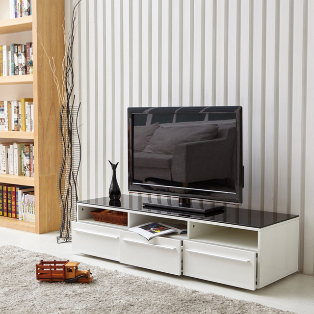 aingoo moderne meuble tv blanc et noir caf table en verre tv stand avec 3 tiroirs - Meuble Tv Blanc Moderne