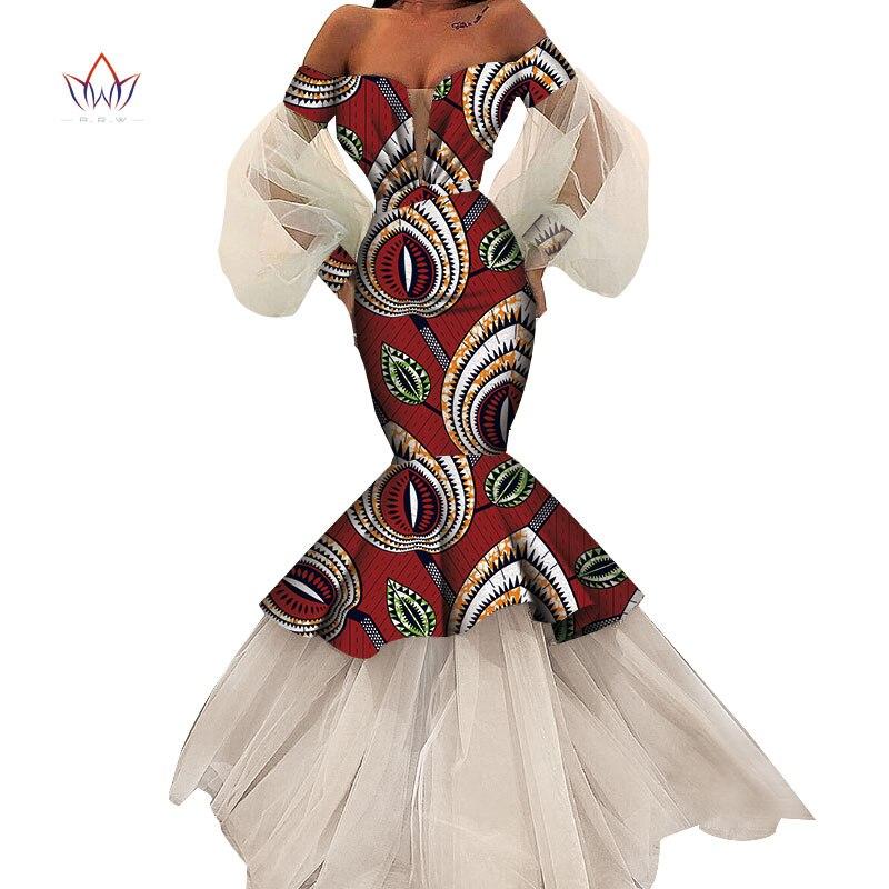 Robes d'été africaines pour femmes Design de mode dashiki femmes bazin riche longue robe en dentelle traditionnelle grande taille naturel WY4616