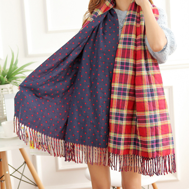 B104 Bohemian National Wind sided cashmere shawl scarf winter plaid dot Han Guoqiu