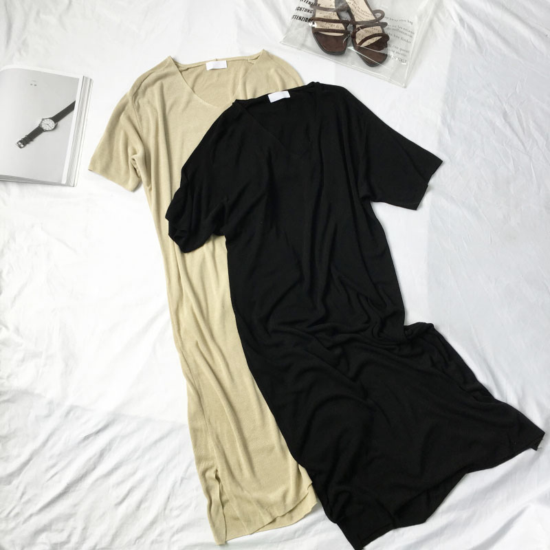 Good long t-shirt woman summer short sleeve V-neck long shirt knitted cotton clothing loose casual shirt stretch plus size new maternity clothing summer one piece dress cotton medium long 100% plus size maternity top t shirt summer short sleeve loose long