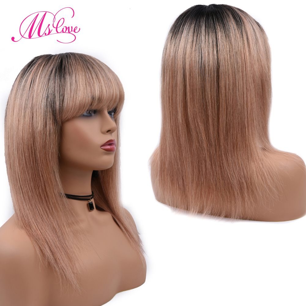 Ms Love Human Hair Wigs Straight Wigs For Black Women Ombre 1B/27 Blonde 1B/118 Red 99J Burgundy Non Remy Wig