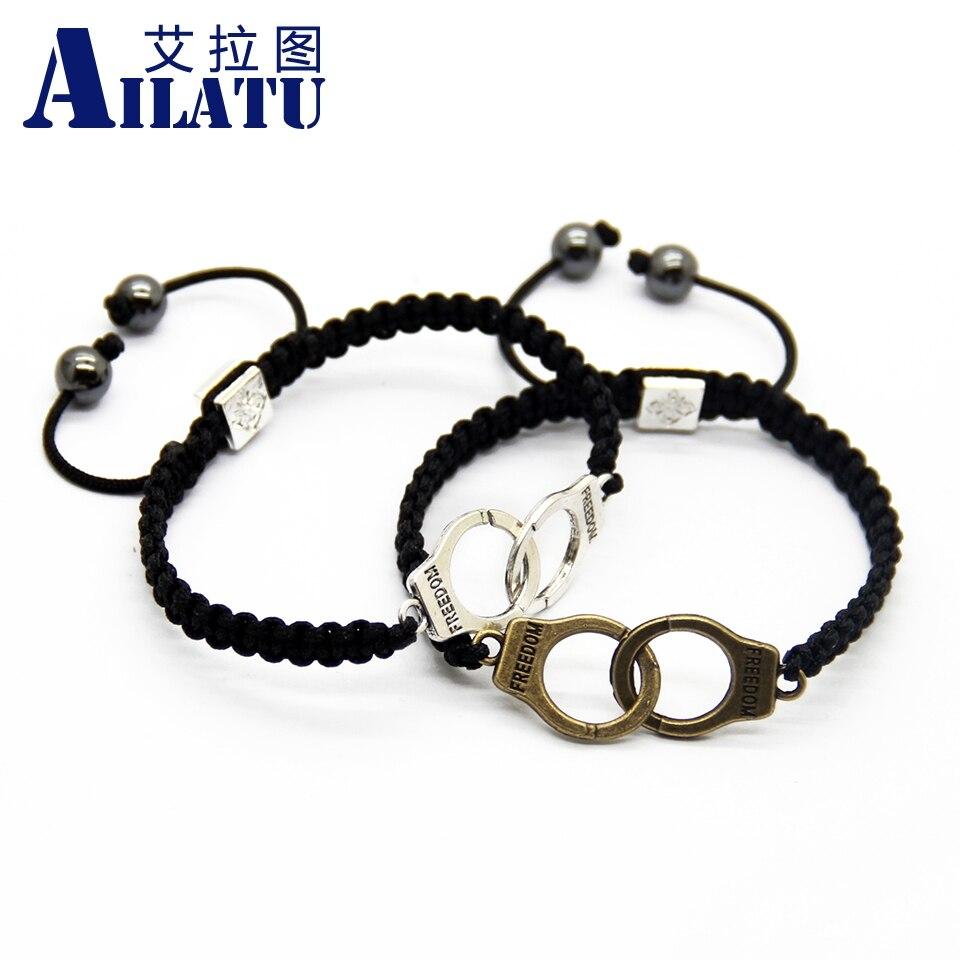 Ailatu Whole Fashion Jewelry Freedom Handcuff Charm Bracelet Lucky For Women And Men