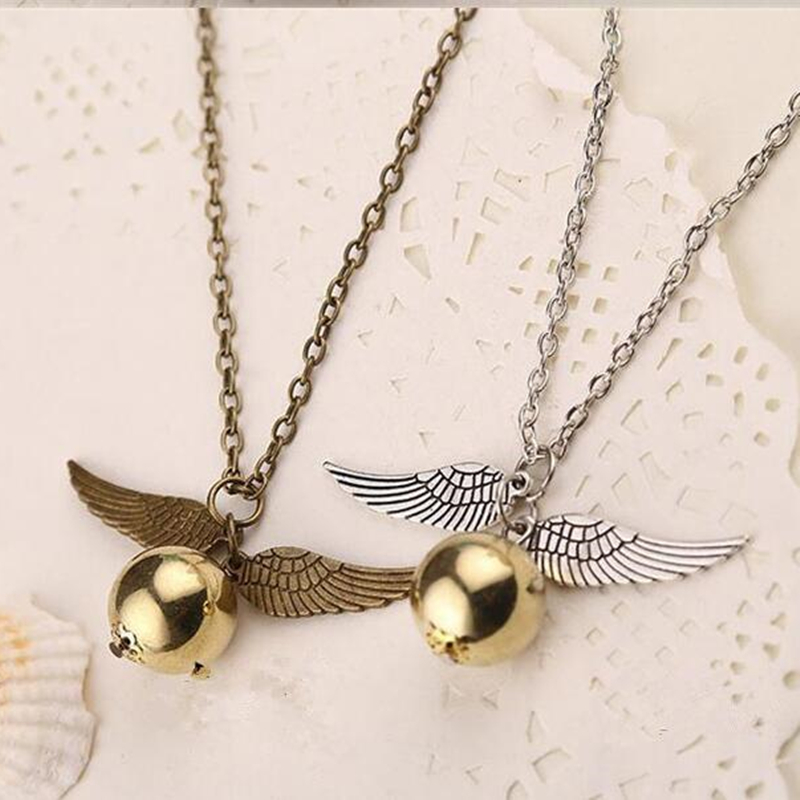 Fashion retro Deathly Hallows Necklace Gold Snitch Exquisite Ball Wings Feather Necklaces & Pendants Choker ND244