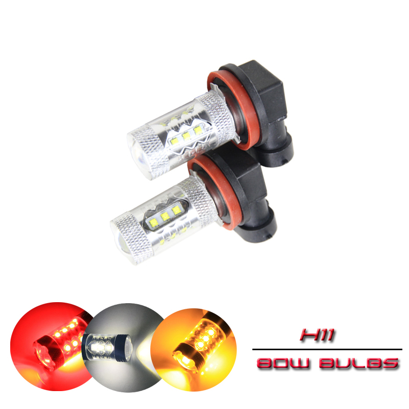 2x H11 PGJ19-2 80W Auto Car Front Led Fog Light Bulbs Yellow White For Bmw E70 X5 02 03 04 05 06 Direct Fit