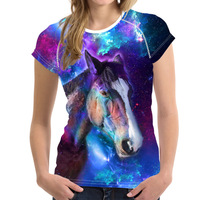 FORUDESIGNS Women T Shirt Short Sleeve 2017 Womens Brand Clothing Horse Antelope 3D Printed Female Sparkle