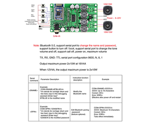 Image 5 - AIYIMA Bluetooth 5.0 2x15W carte amplificateur Audio Bluetooth sans fil Amplificador prise en charge commande série changement de nom mot de passe