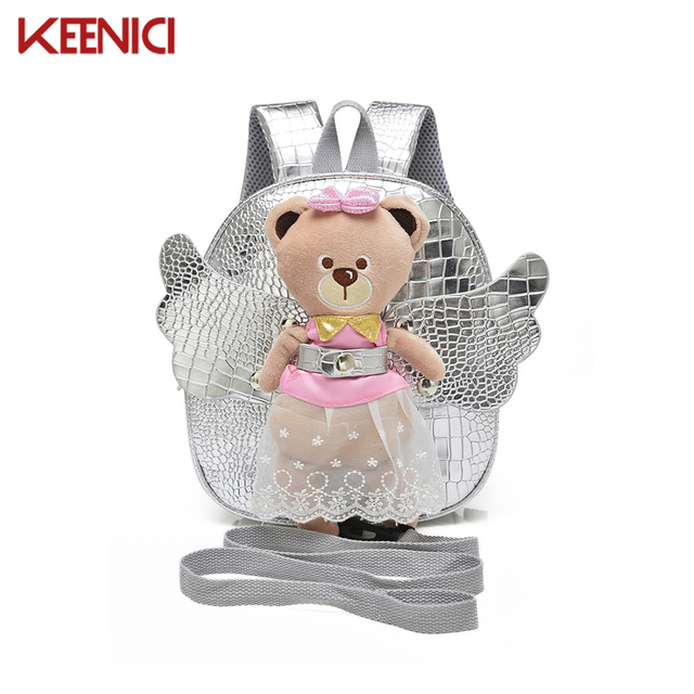 KN Anti-lost Cute Angel Bear School Bags for Girls Leather PU Baby Girl Backpack Kindergarten Bags Children's Gifts for Age 1-3