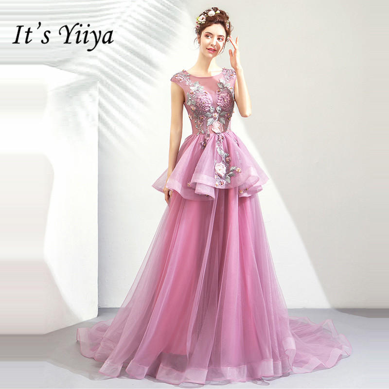 It's YiiYa   Prom   Gowns Purple Sleeveless Court Train Beading Floor Length Long Party   Dress   Custom Plus Size   Prom     Dress   2019 E246