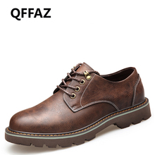 QFFAZ Autumn Fashion PU Leather Tooling Casual Shoes Men Footwear Man Shoes Comfortable Soft Working Oxfords Shoes Men Boots