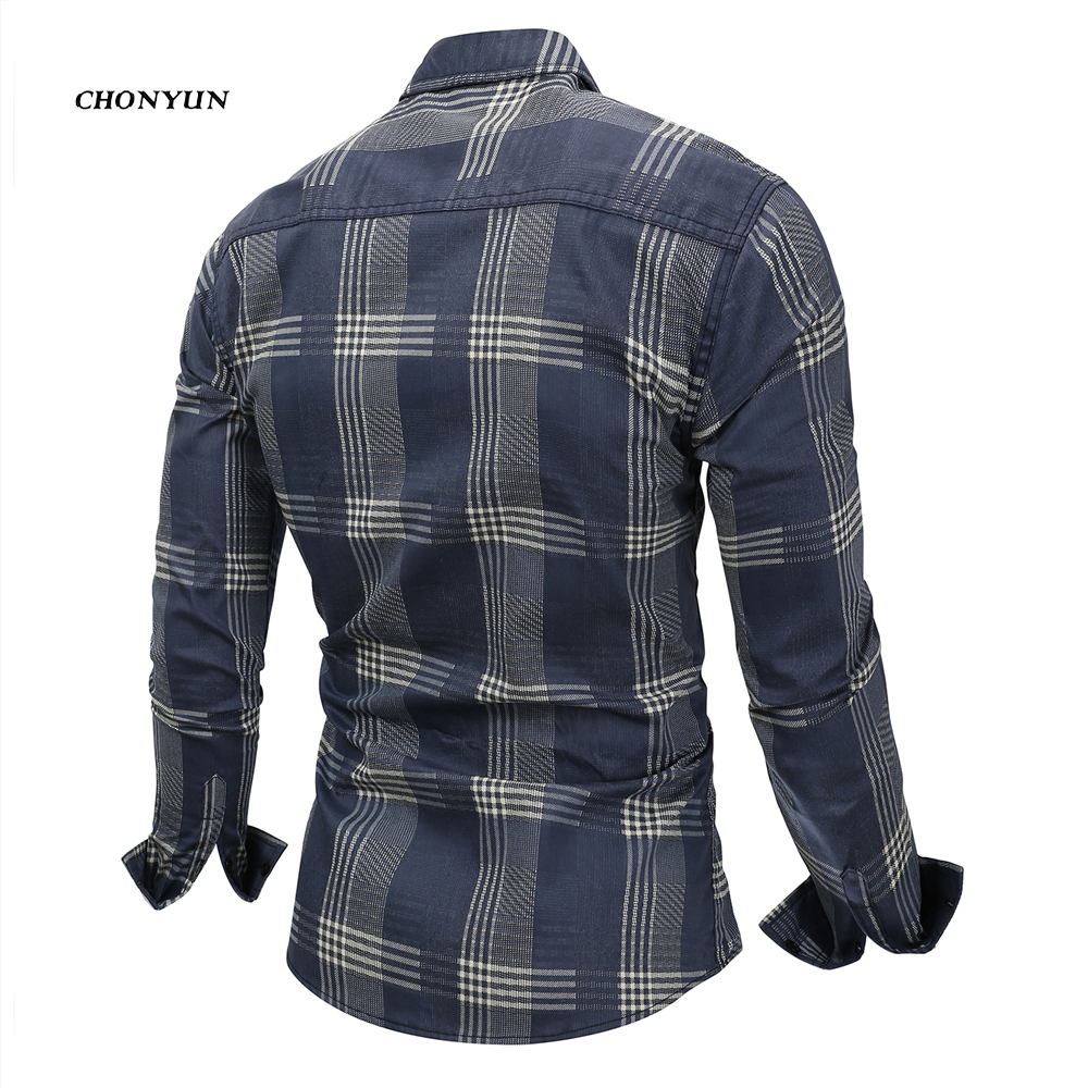 2020 Brand New Men's Casual Shirt Denim Long Sleeve Slim Fit Striped Shirts Business Camisa Breathable Dress Shirt Men Clothing 2