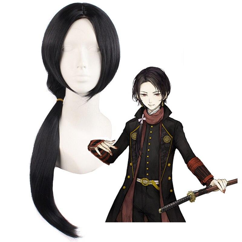 Tou Ken Ran Bu Kashuu Kiyomitsu 65cm Black Straight Wigs Anime Costume Cosplay Wig Heat Resistant Men Wig With Free Cap