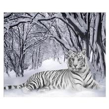 5D DIY Diamond Tiger Animal Full Circle Embroidered Cross-stitch Rhinestone Home Decor