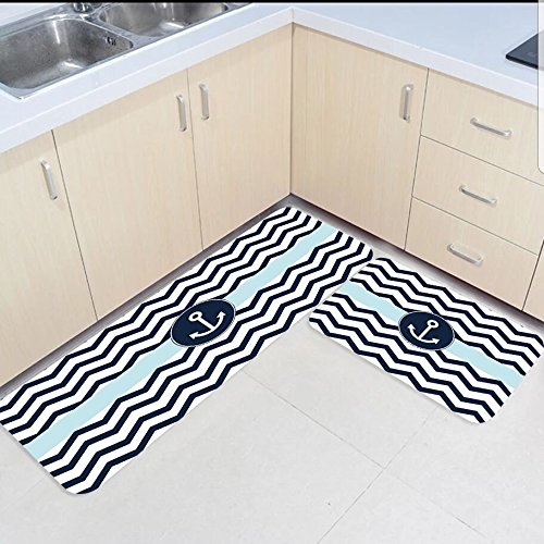 US $32.56 46% OFF|2 Piece Kitchen Mats and Rugs Set Ocean Nautical Theme  Anchor Home Deocr Non Skid Area Runner Doormats Carpet-in Rug from Home &  ...