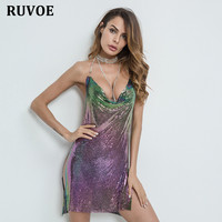 Summer New Arrival Fashion Women Halter V Neck Backless Dress Sequined Bright Split Mini Sexy Women