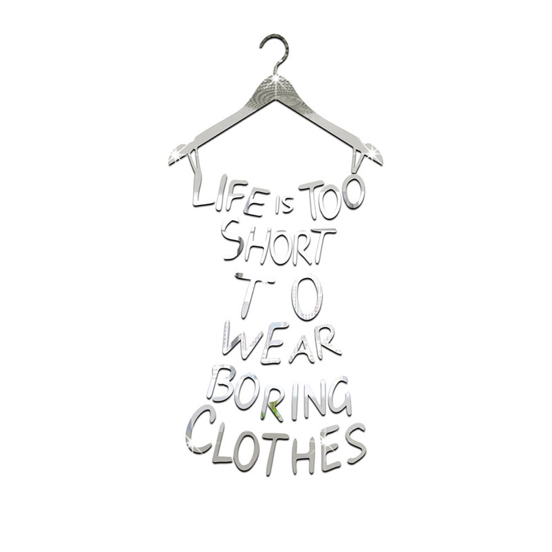 74a6594c1 Wall Decal Quote Dress Acrylic Mirror Sticker Name Life is Too Short ...
