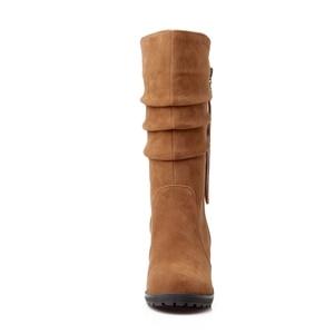 Image 4 - BONJOMARISA grande taille 34 43 qualité chaude automne hiver chaussures femmes mi mollet chaussure compensée femme Slip On plissé bottes déquitation