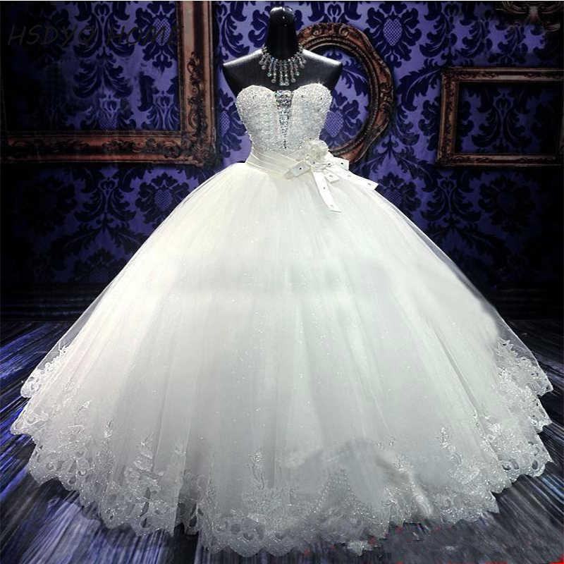 Baratos 2016 Vestidos De Casamento com vestido de Baile de Luxo Cristais Trem Da Varredura Branco Marfim Frisada Lace Up Voltar Nupcial
