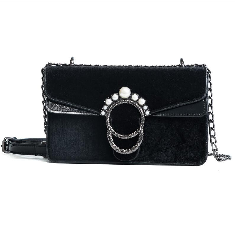 RUILANG New 2018 Womens Fashion Velvet Diamonds Handbags Female Messenger Bag Ladies Luxury Shoulder Cossbody Bag Girls Handbag