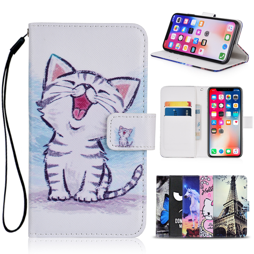 Cartoon Wallet <font><b>Case</b></font> <font><b>for</b></font> <font><b>Alcatel</b></font> <font><b>POP</b></font> <font><b>4</b></font> 5051 <font><b>5051D</b></font> 5051J 5051M 5051X PU Leather Unicorn Cat Butterfly Kickstand phone Bag image