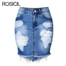2017 European And American Women's Wear High Waist Package Hip Skirt Ripped Vintage Skinny Blue Short Pencil Skirt Denim Skirt