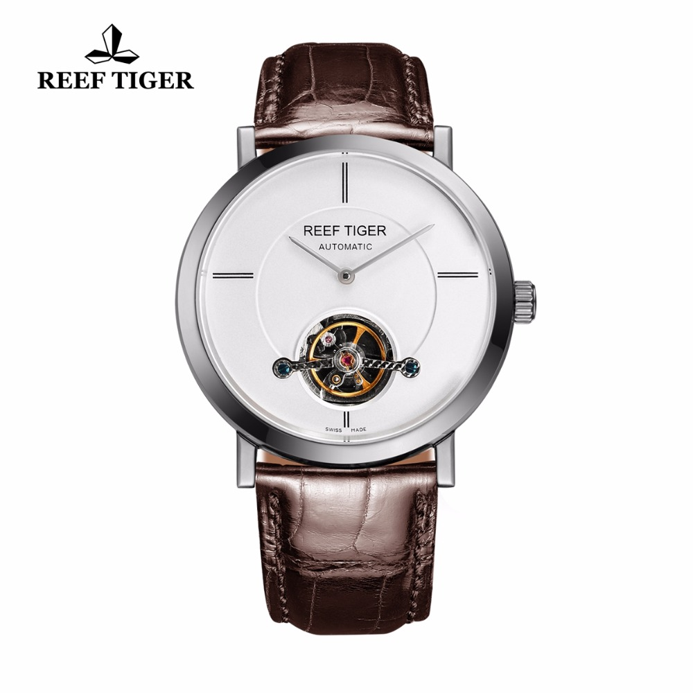Reef Tiger/RT Business Automatic Watches Tourbillon Casual Watch For Men Ultra Thin Steel Watch with Leather Strap RGA1610 yn e3 rt ttl radio trigger speedlite transmitter as st e3 rt for canon 600ex rt new arrival