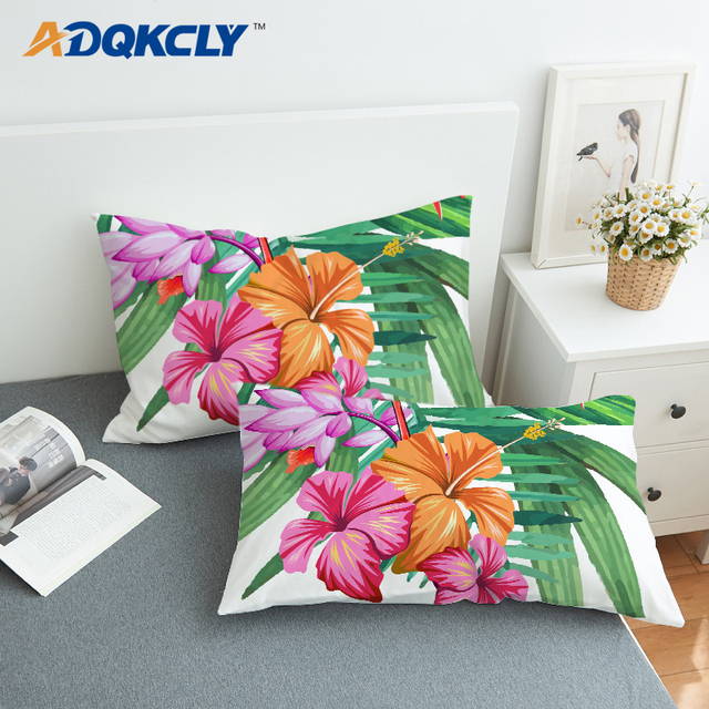 ADQKCLY Home Textile Bedding Pillowcase Tropical Plant Floral Pattern Microfiber Pillow Cover for Bedding Supplies One Pair