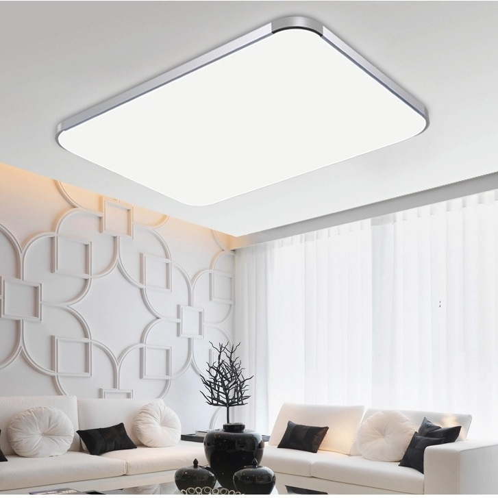 ФОТО Modern Square Rectangle Stepless Dimmer Indoor LED Ceiling Lamp Bed room Living Room Balcony Slim Ceiling light  220V