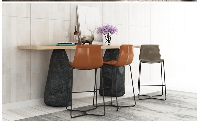 Nordic Tieyi Bar Chair Bar KTV Office Front Desk Special Chair Creative High-legged Bar Chair Simple Leather Art Bar Chair