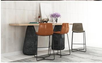 Nordic Tieyi Bar Chair KTV Office Front Desk Special Creative High-legged Simple Leather Art