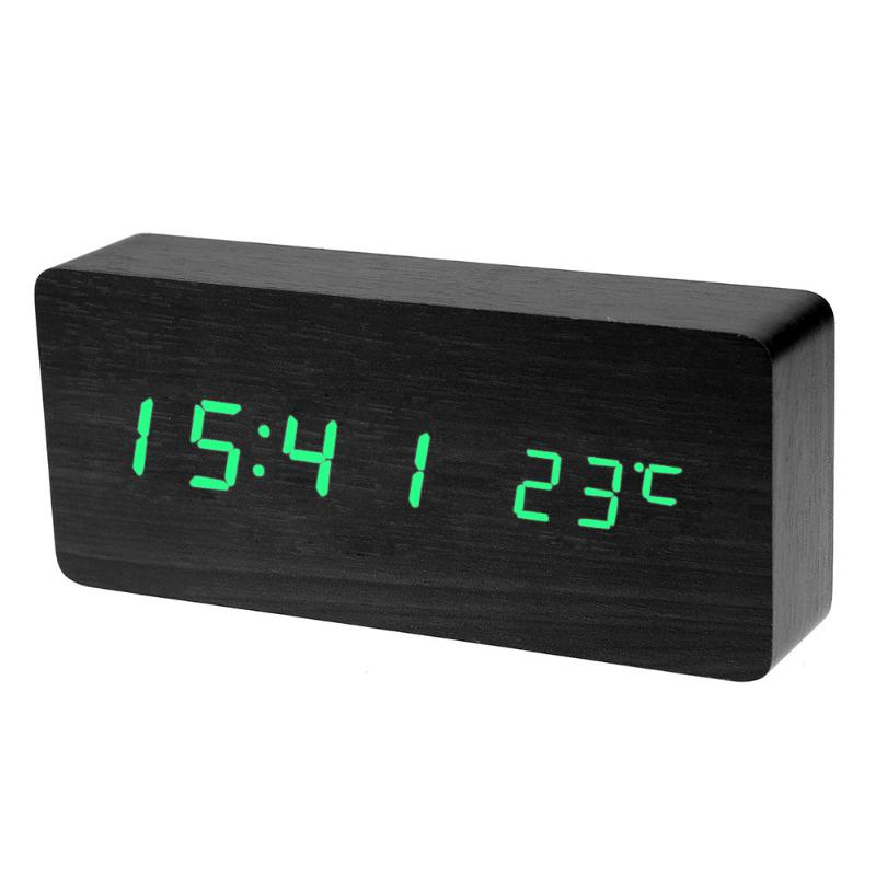 Modern LED Sound Control Wood Clock Wooden USB AAA Digital Desk Alarm Clock Rechargeable Calendar Timer Clock