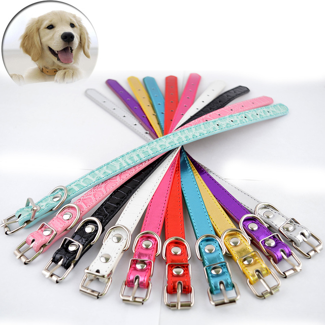 Wholesale 10pcs Metallic Croc Leather Dog Cat Collars Mixed Colors Collar  For Small Pets Puppy Dog Collars   Leads caaf790a9a8b