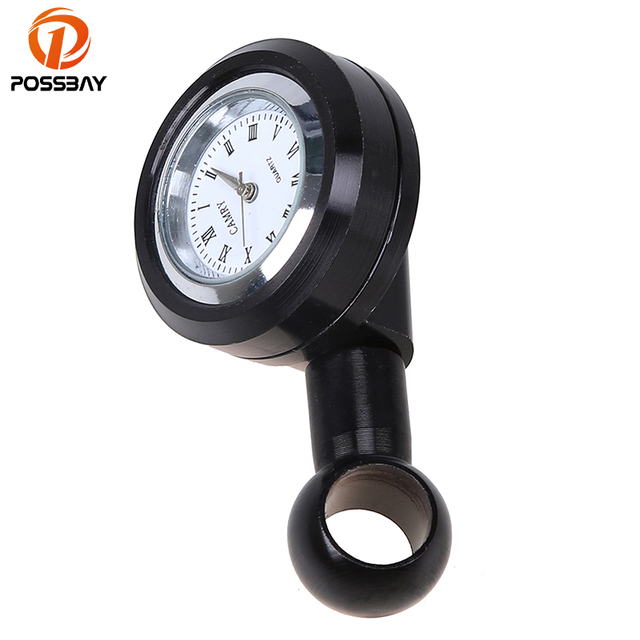 POSSBAY 10mm Motorcycle Clock Scooter Mirror Mounted Watch fit for Suzuki Yamaha Harley Honda Scooter Black Clock Cafe Racer