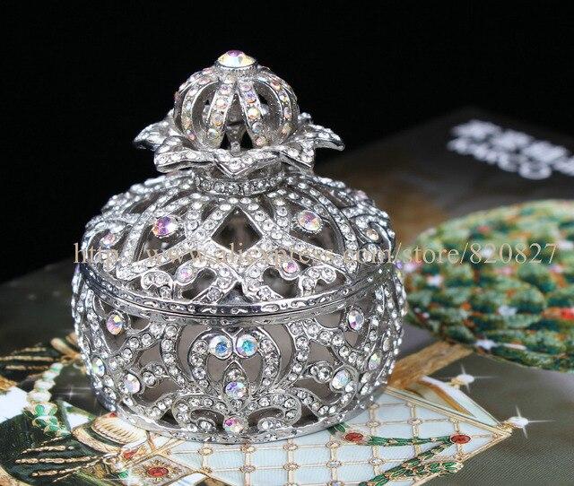 a42323d68b88 Azul real de La Corona Caja de Joyas Caja de La Baratija Enjoyada Corona  Corona Cristales