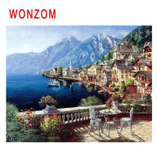 WONZOM Seaside House Diy Painting By Numbers Island Town Oil Cuadros Decoracion Acrylic Paint On Canvas Modern Wall Art