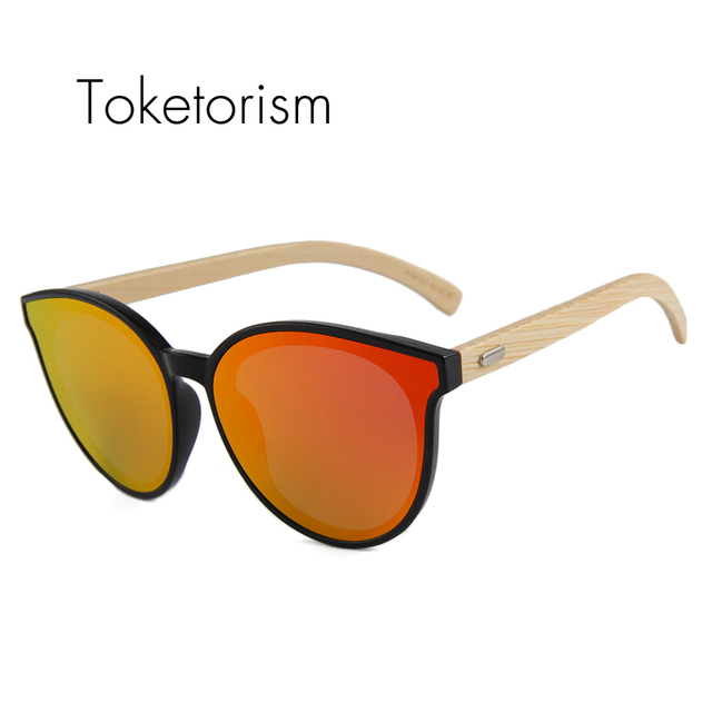 efb7e01fb4 Toketorism high fashion new women men sunglasses styles round vintage wooden  bamboo sun glasses mirror lenses 413